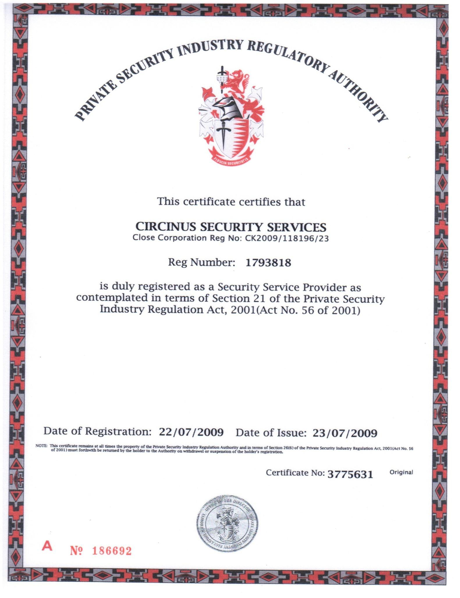 Circinus security services gauteng bee certification psira certification xflitez Images